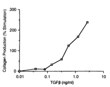 Collagen production depending on TGF-beta